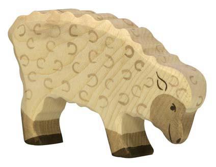 Holztiger Holzfigur Schaf, fressend