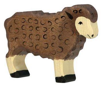 Holztiger Holzfigur Schaf, stehend schwarz
