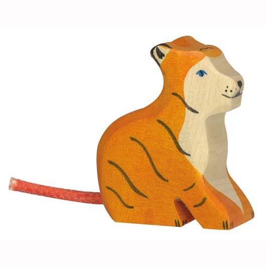 Holztiger Holzfigur Tiger, klein sitzend