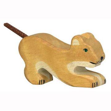 Holztiger Holzfigur Löwe, klein spielend