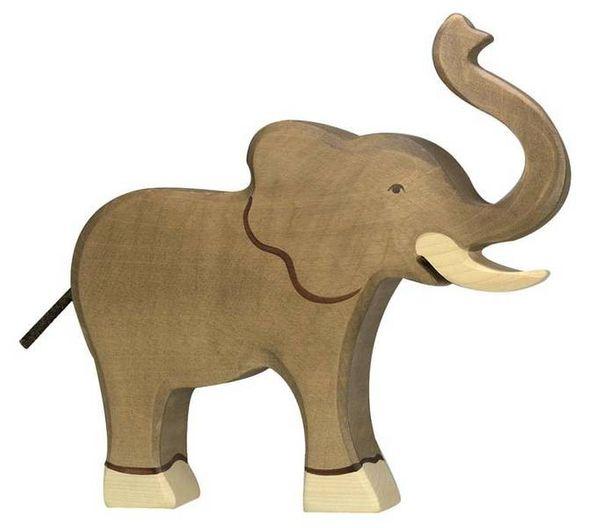 Holztiger Holzfigur Elefant, Rüssel hoch