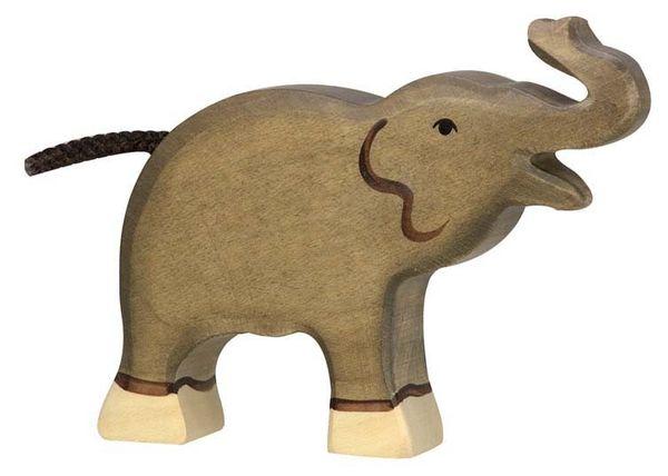 Holztiger Holzfigur Elefant, klein Rüssel hoch