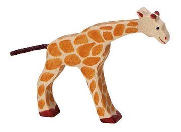 Holztiger Holzfigur Giraffe, klein trinkend