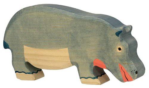 Holztiger Holzfigur Nilpferd, fressend