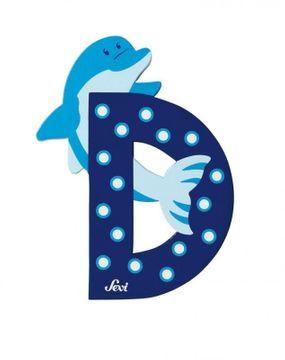 Buchstabe D Delphin, versch. Farben