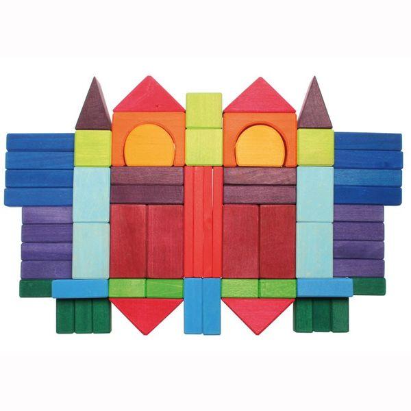 Holzbausteine Geometrische Formen bunt 60tlg