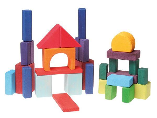 Holzbausteine Geometrische Formen bunt 30tlg