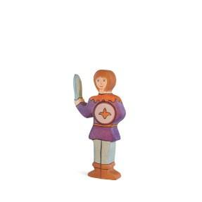 Holztiger Holzfigur Junge, violettes Hemd