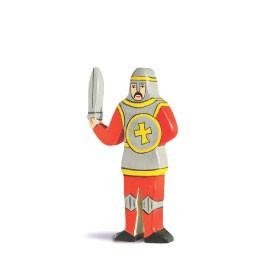 Holztiger Holzfigur Ritter kämpfend, rot