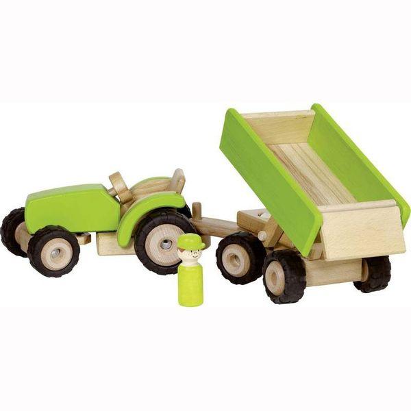 Großer Holztraktor  mit Anhänger grün