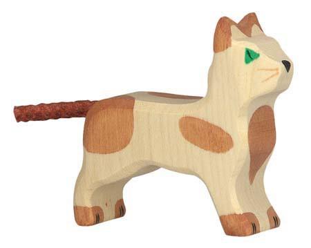 Holztiger Holzfigur Katze klein, stehend