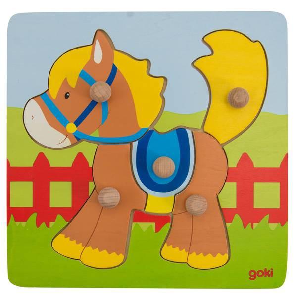 Goki Steckpuzzel klein mit Hintergrund PD2 - Pferd