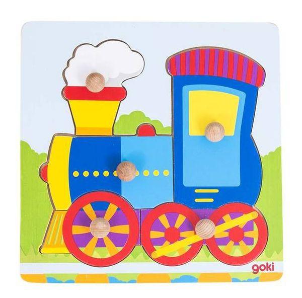 Goki Steckpuzzle klein mit Hintergrund PD2 - Lokomotive