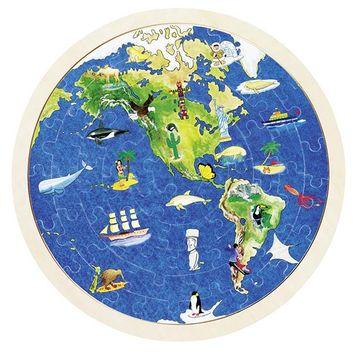 Goki Einlegepuzzle rund - Weltkugel