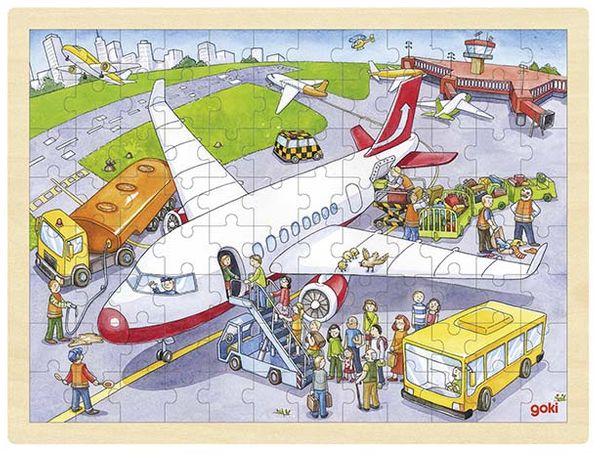 Goki Einlegepuzzle groß - Flughafen