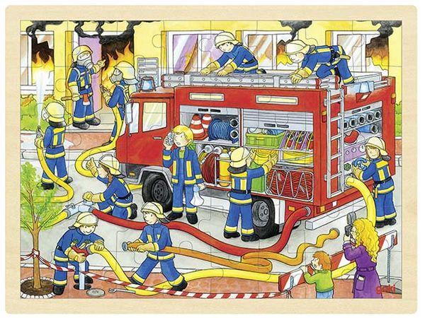 Goki Einlegepuzzle groß - Feuerwehr