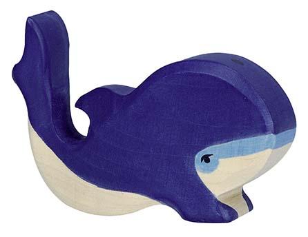 Holztiger Holzfigur Blauwal, klein