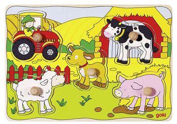 Goki Steckpuzzle mit Hintergrund PD3 - Bauernhof