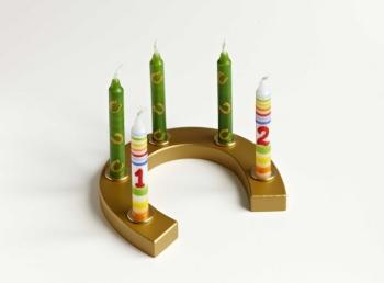 AHS Kerzenständer Hufeisen, mit Goldlackierung