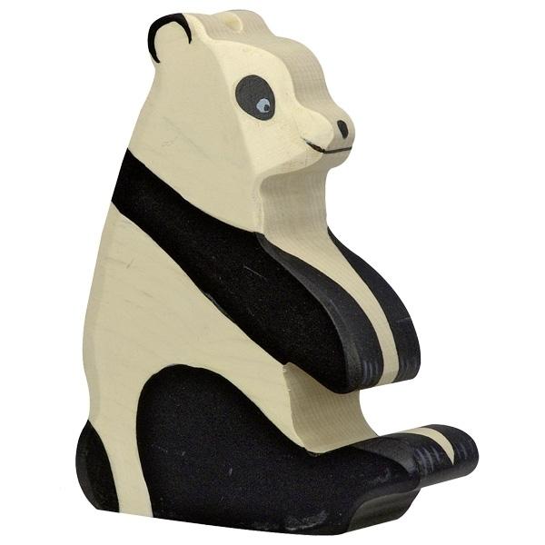 Holztiger Holzfigur Pandabaer, sitzend