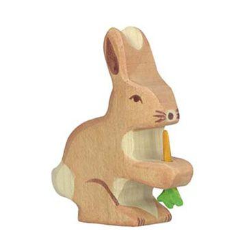 Holztiger Holzfigur Hase mit Karotte