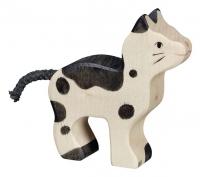 Holztiger Holzfigur Katze, klein, schwarz und weiß