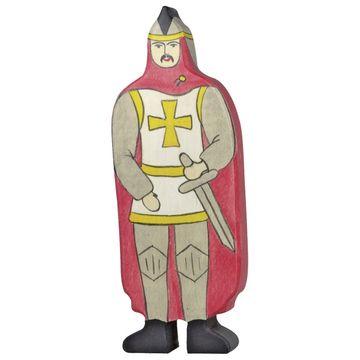 Holztiger Holzfigur Ritter mit rotem Mantel