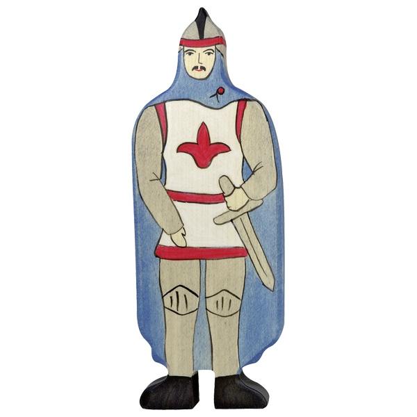 Holztiger Holzfigur Ritter mit blauem Mantel