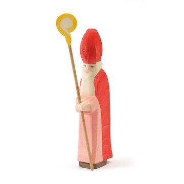 Ostheimer Krippenfigur St. Nikolaus mit Stab