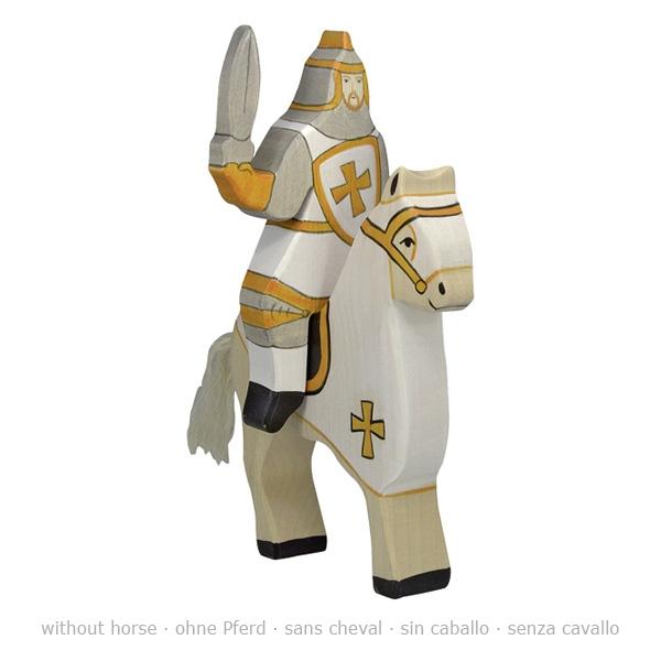 Holztiger Holzfigur Turnierritter, weiß (ohne Pferd)