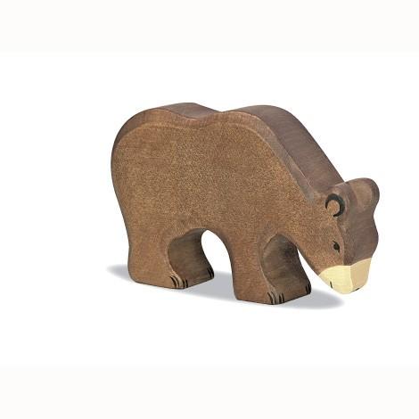 Holztiger Holzfigur Braunbaer, fressend
