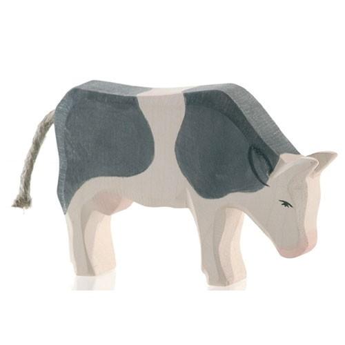 Ostheimer Holzfigur Kuh schwarz, fressend