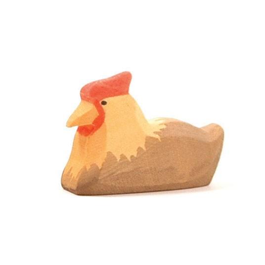 Ostheimer Holzfigur Huhn braun, liegend