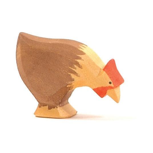 Ostheimer Holzfigur Huhn braun, pickend
