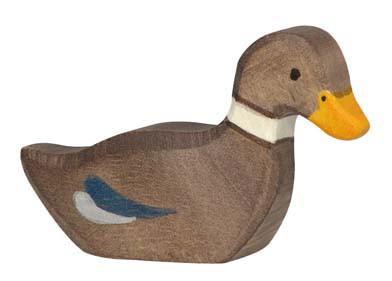 Holztiger Holzfigur Ente, schwimmend