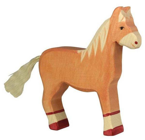 Holztiger Holzfigur Pferd hellbraun stehend