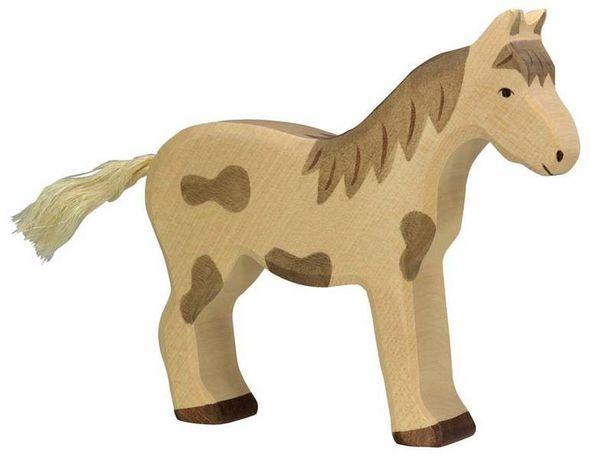 Holztiger Holzfigur Pferd, stehend gefleckt
