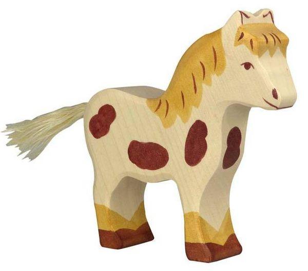 Holztiger Holzfigur Pony, gefleckt