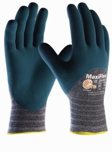 """""""MaxiFlex Comfort"""" (34-925) Baumwoll-/Nylon-Strickhandschuhe, Nitril beschichtet, Kat.2, 3/4 beschichtet, hellgrau/blau"""