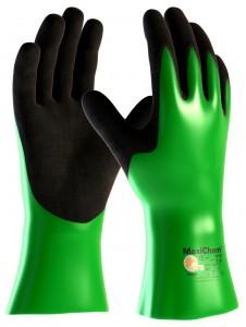 """MaxiChem"" (56-630) Chemikalien-schutzhandschuhe. Kat.3, Nitrilbeschichtung, vollbeschichtet ""Mikro-Cup"" Oberfläche, 30 cm, grün/schwarz"