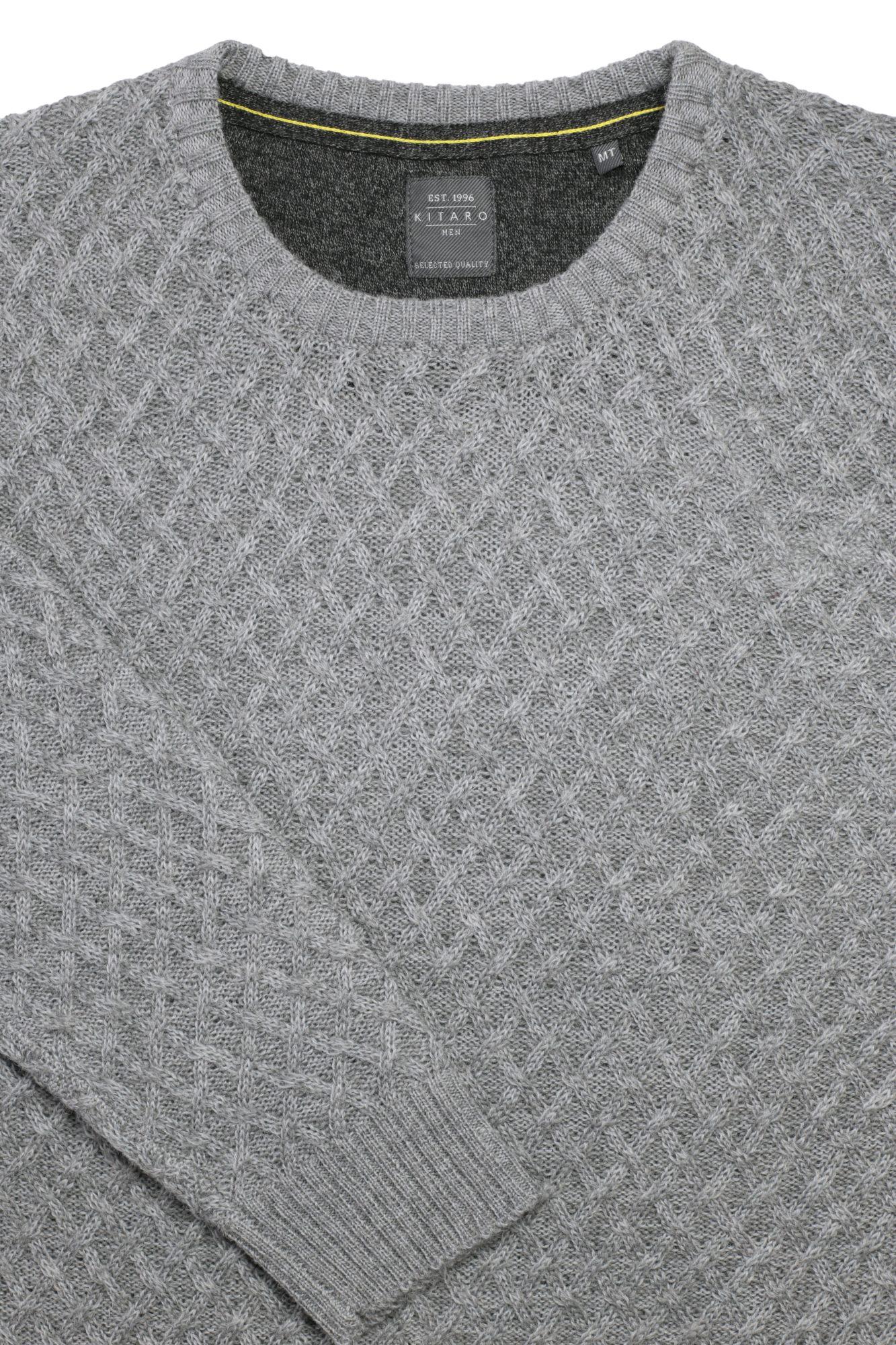 Kitaro Pullover Strick Pulli Zopfmuster Herren Wolle Langarm Plusgröße