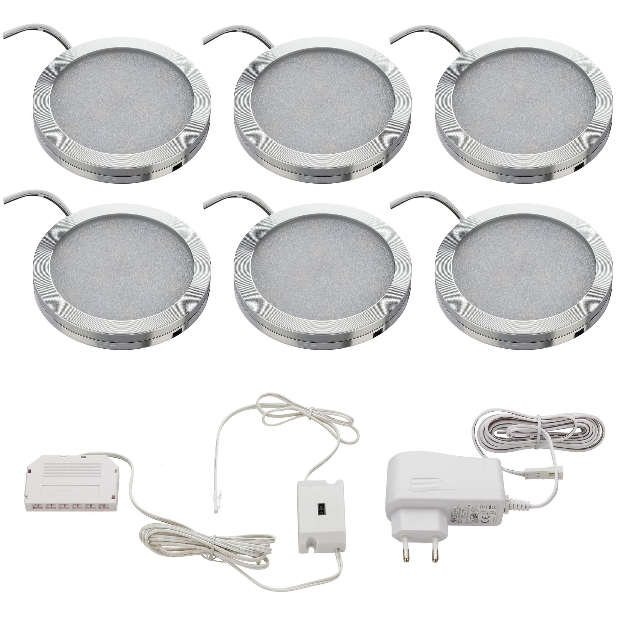 6er Set LED Unterbauleuchte rund