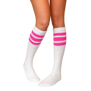 "SKATERSOCKS USA Tube Socks 22"" - weiss/pink"