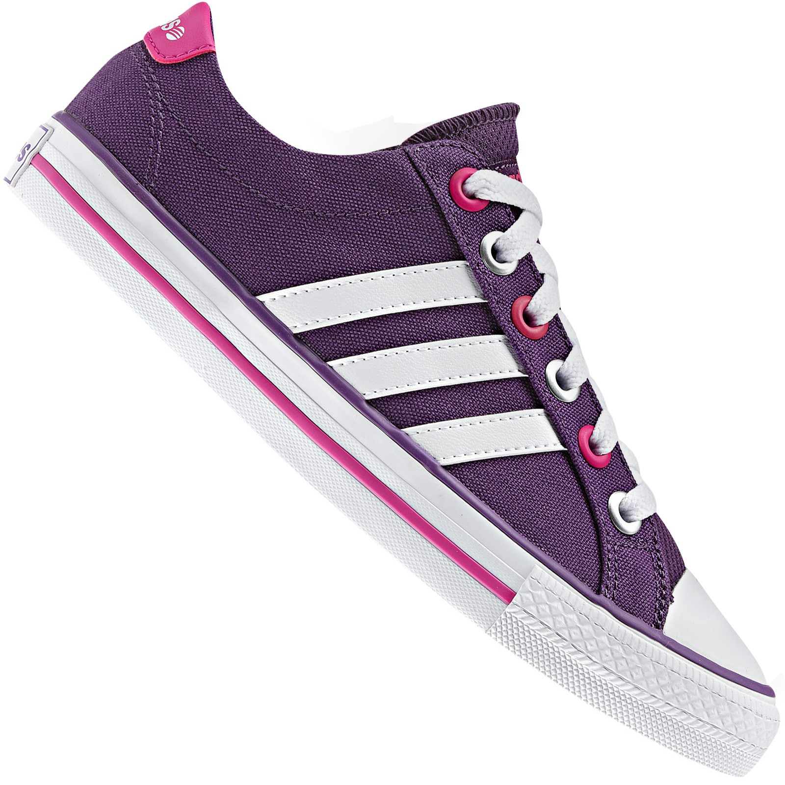 Details about Adidas Neo Label Canvas Vl 3 Stripes Trainers Lifestyle Shoes Purple Pink White