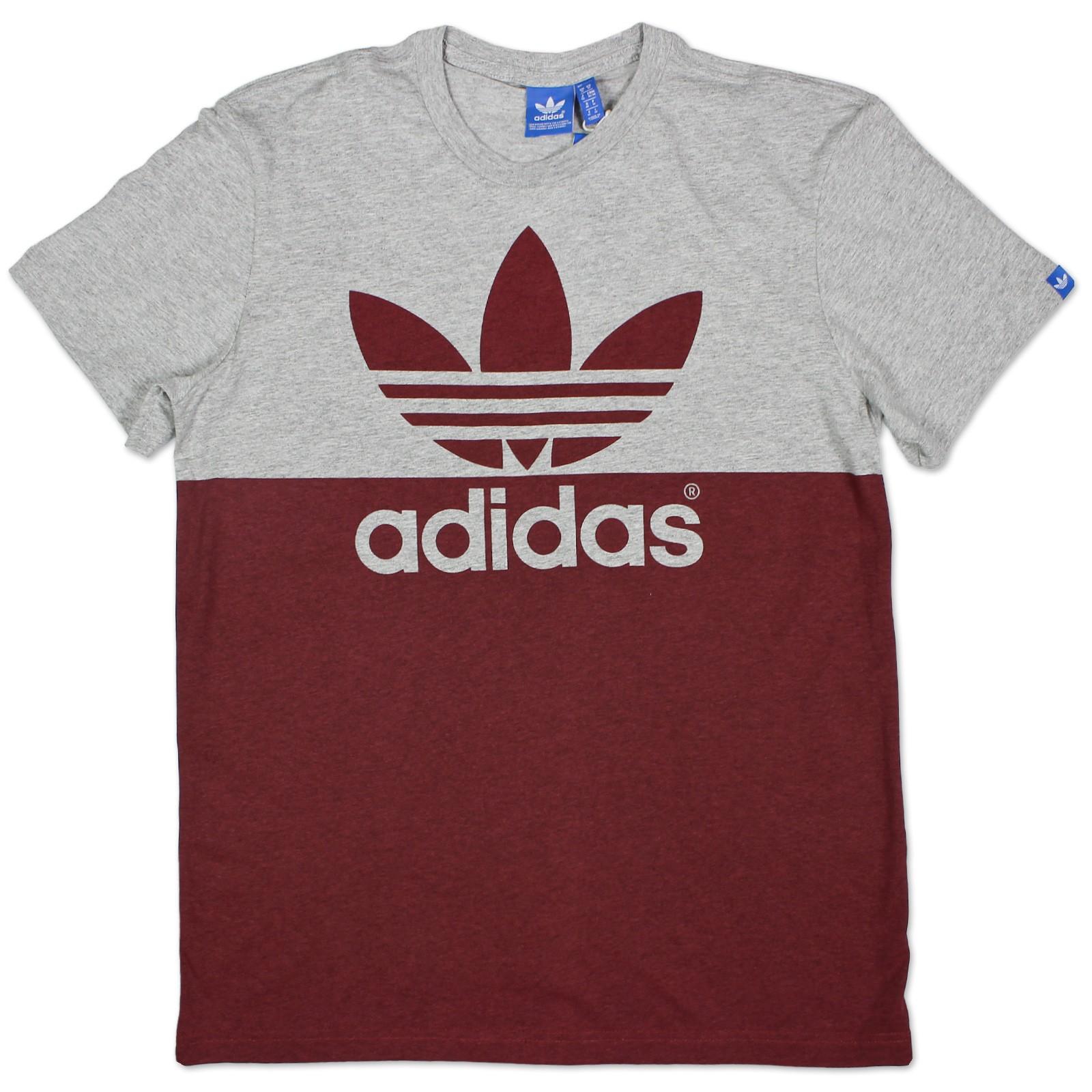 Details about Adidas Originals Graphic Colorblock Trefoil Tee Shirt Mens Grey Dark Red M show original title