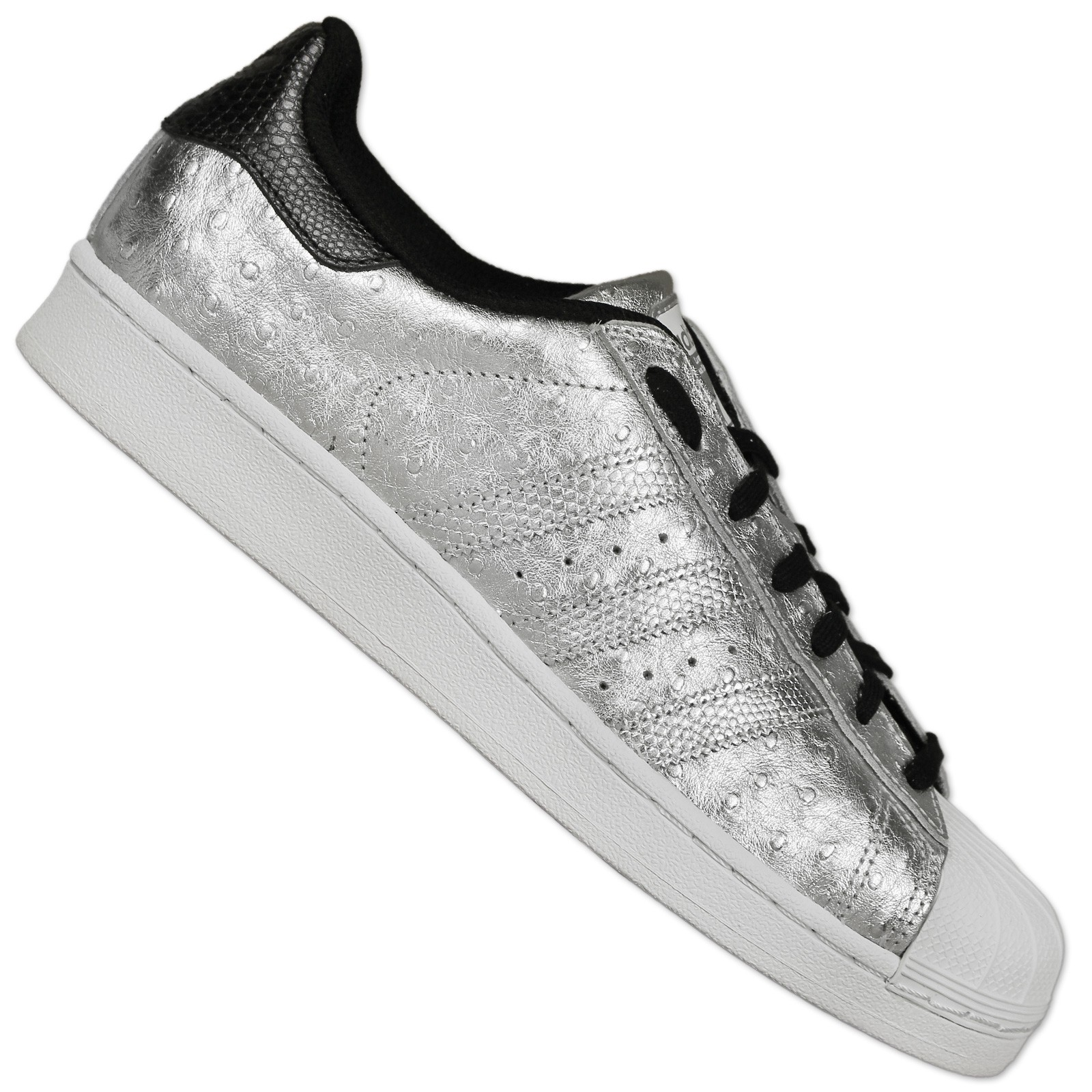 Details about Adidas Originals Superstar Trainers II Shoes Ostriches Leather Silver Metallic
