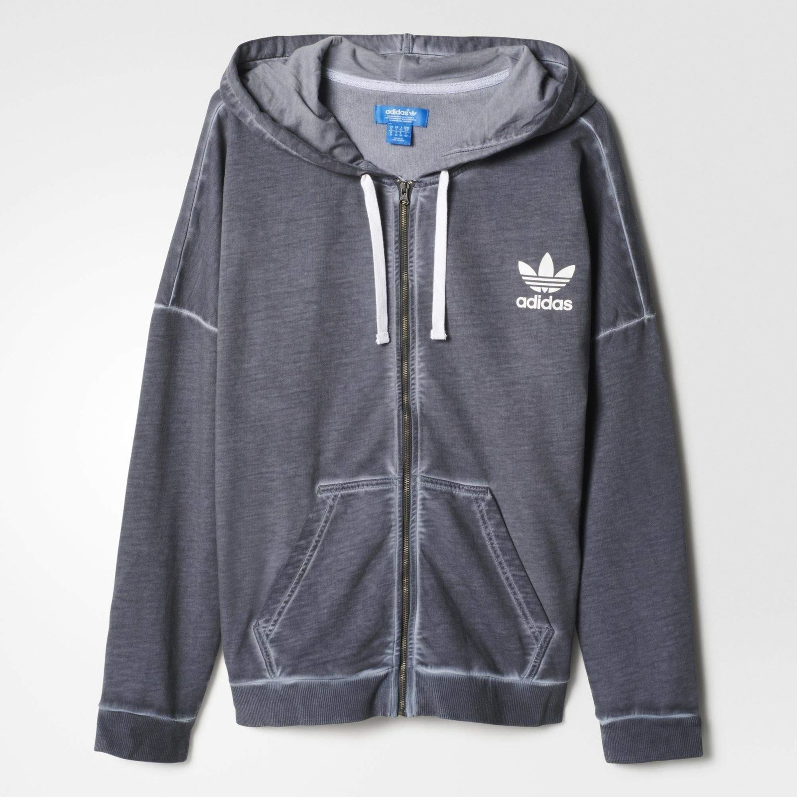 reputable site bb7a7 cc3c1 ADIDAS ORIGINALS DAMEN PE WASHED CREW HOODIE SWEATSHIRT ZIP PULLOVER JACKE  GRAU