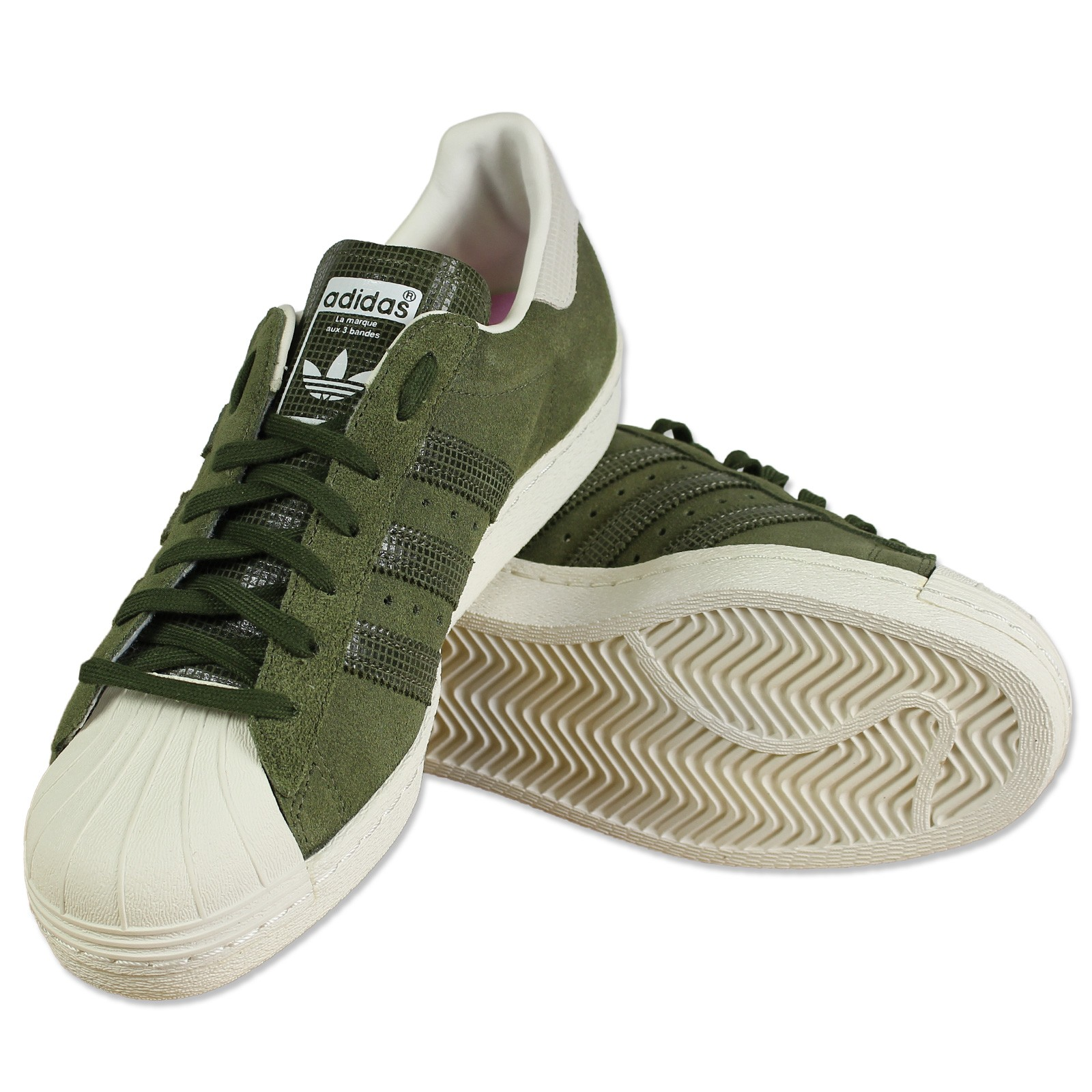 Suède Tennis Détails Chaussures Adidas Originals Sur Vert Daim Kaki 80s Superstar S81324 5L3jSAc4Rq