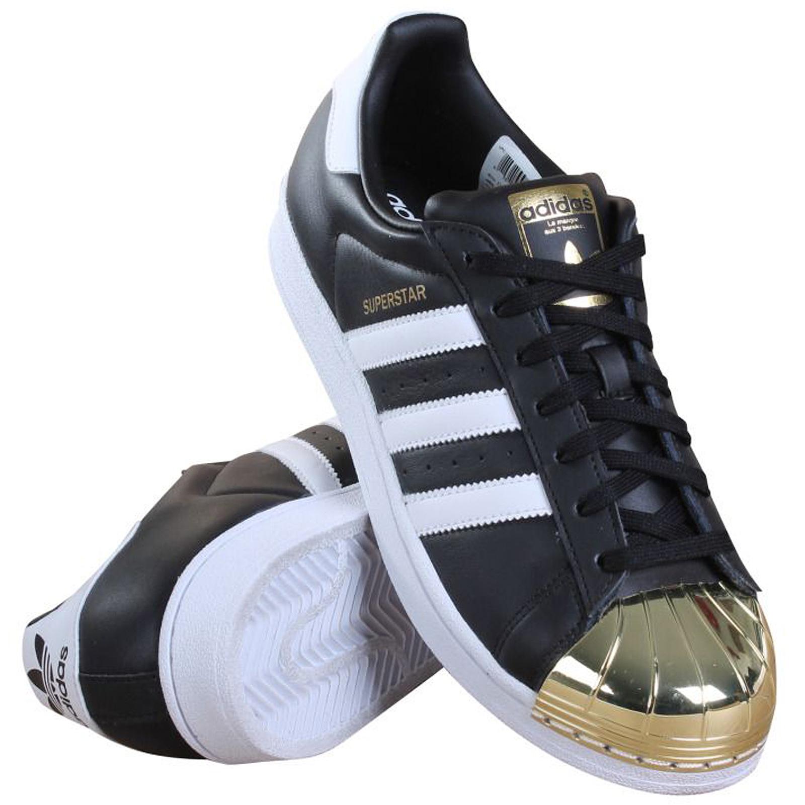 info for 7e1d1 edc0f Dettagli su ADIDAS Originals Superstar METAL TOE bb5115 Sneaker Scarpe nere  in pelle oro- mostra il titolo originale