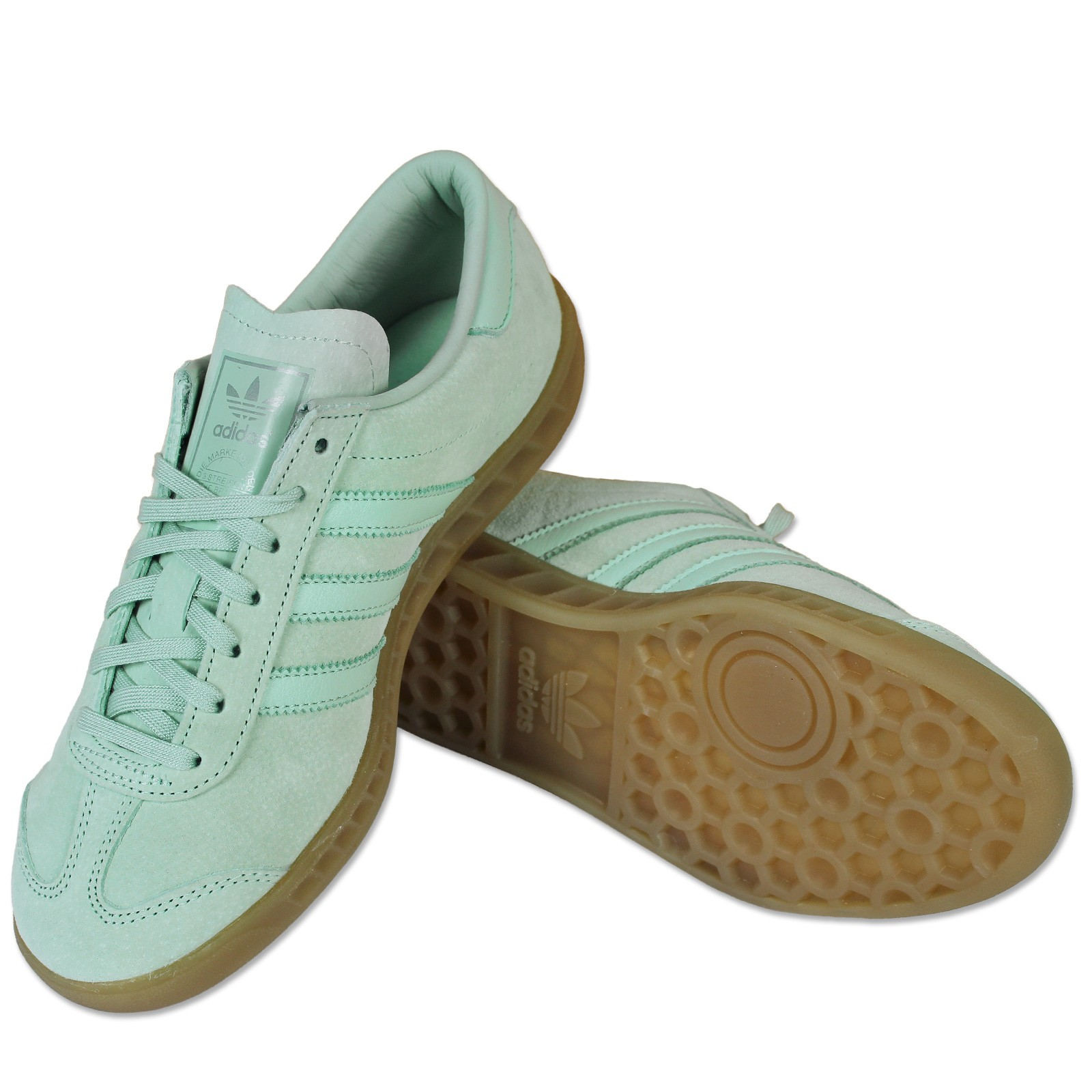 Adidas Leder Rosa Hamburg Sneaker Mint Details Hellblau
